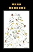 Drawings of lab equipment arranged to make a Christmas tree.