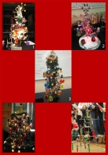 A collection of chemistry-themed Christmas trees.