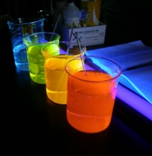 Beakers holding various coloured liquids.
