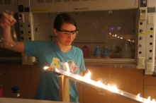 Student creating flames on a ramp.