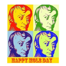 Mole day greeting card with four images of Avogadro in different colours.