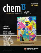 September issue cover with a colourful painting in Picasso style with chemistry symbols and models on an easel