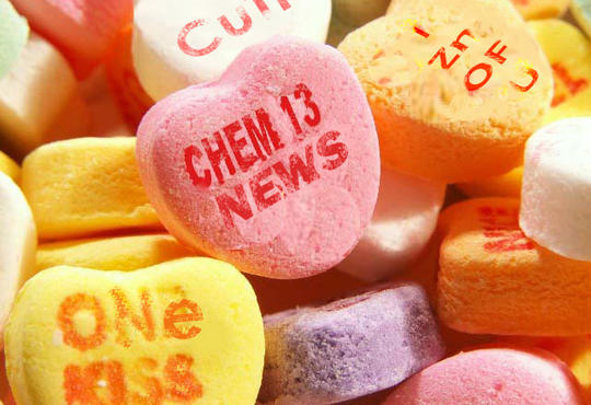 Candy hearts with Chem 13 News on one of them