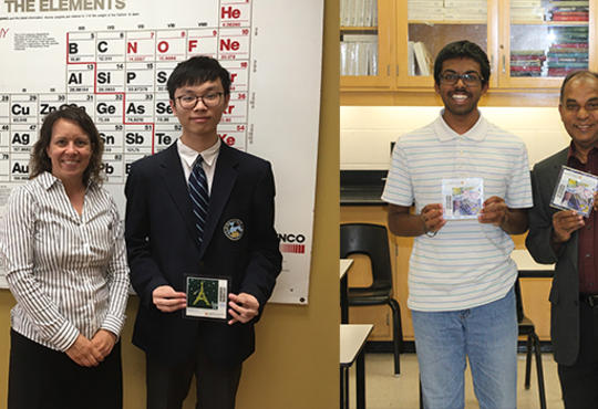 Stephen Chen and his teacher Melissa Rathier; right, Yashan Chelliahpilla with Samuel Diljohn. Both are holding a winning tile.