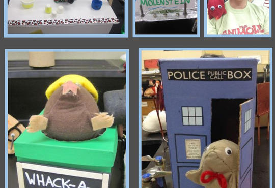 a collage of stuffed moles -- LeMOLEnode stand; MOLEstein; Sue Bober with a red mole on her shoulder; Whack-a-MOLE; and Dr. Who