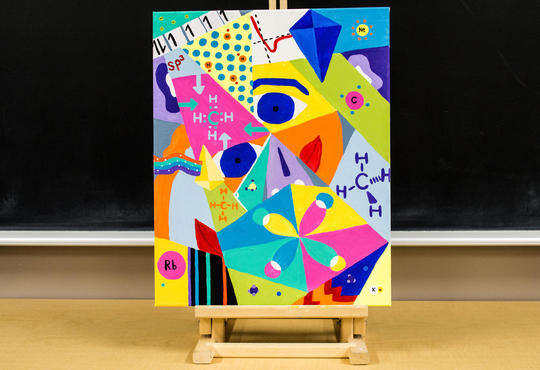 colourful painting in Picasso style with chemistry symbols and models on an easel