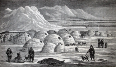 Drawing of people, dogs and igloos.