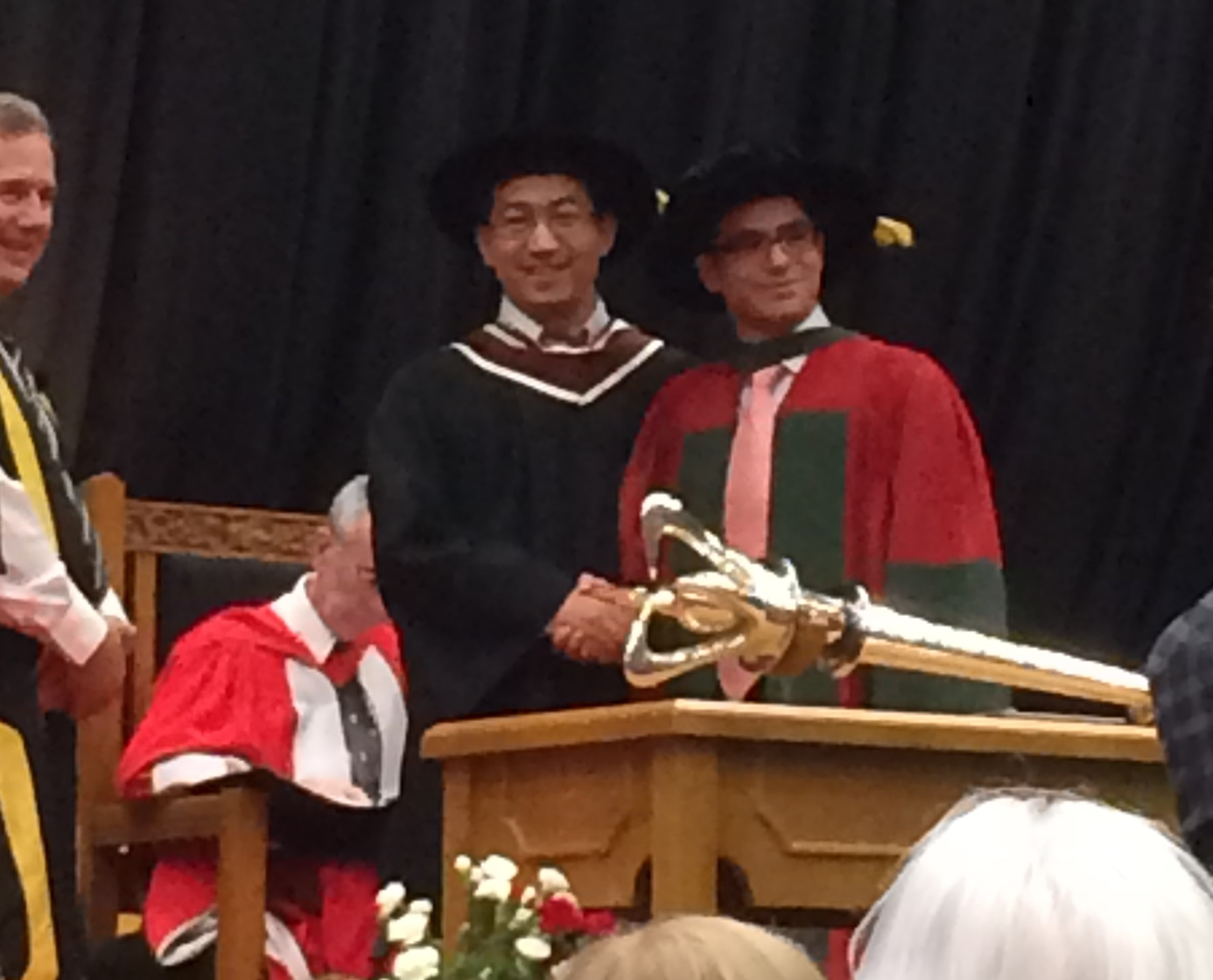 Prof. Zhao and Dr. Shahsavan at UW Spring 2017 Convocation