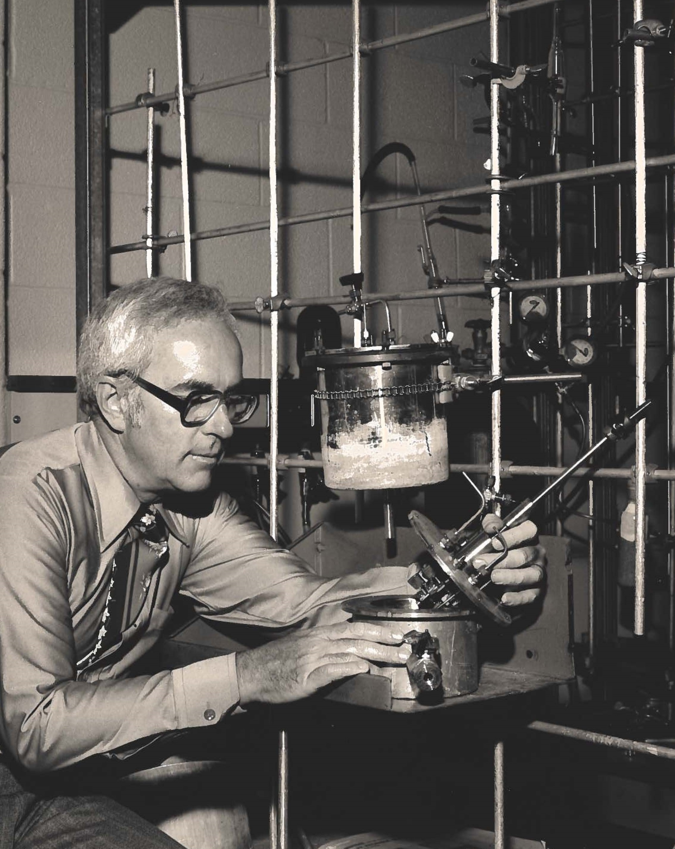Ken O'Driscoll working in the Polymer Synthesis Lab, in the early eighties.