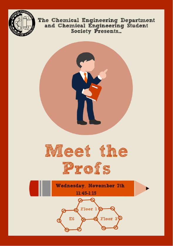 A poster with details about the upcoming CHE Meet the Prof event on November 7 2018.