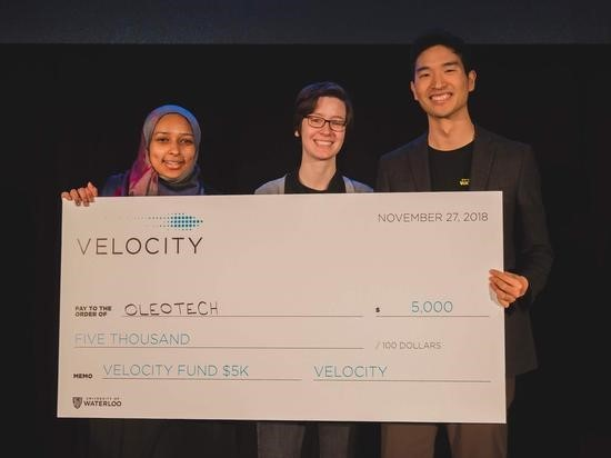 Zeinab Sidahmed, Cassidy Molloy and Gene Shim collect their Velocity Fund Finals award.