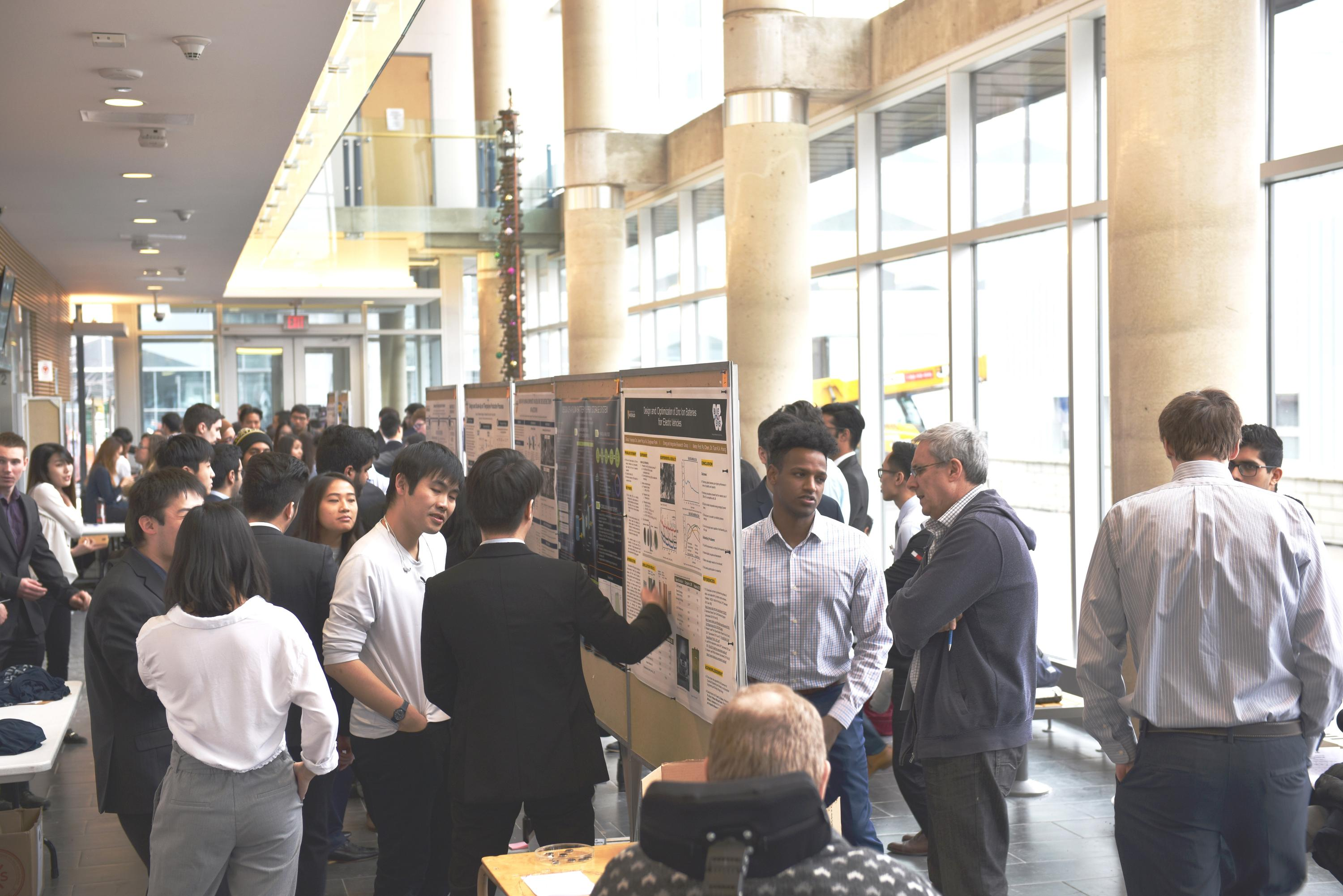 The Engineering 6 atrium provided a bright backdrop for lively discussion at the CHE Capstone Design Symposium on March 12, 2018