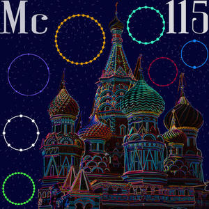 elemental tile for moscovium made by digitally highlighting the outline St. Basil's Cathedral in Moscow