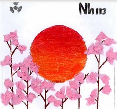 elemental tile of nihonium drawing with a large red sunset and tissue-paper cherry blossoms.