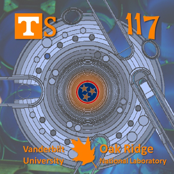 elemental tile of tennessine created digitally showing cross-section of a reactor core with Tennessee flag symbol in middle
