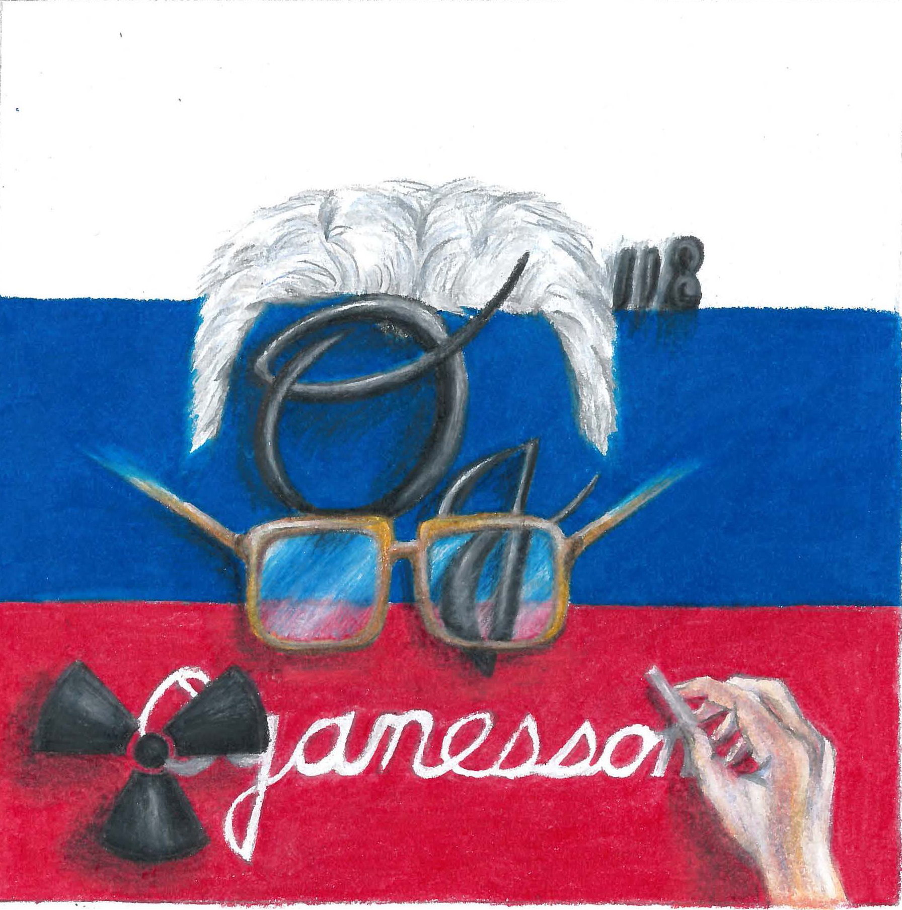 elemental tile of oganesson showing a Russian flag with Dr. Oganessian eyeglasses, hair and hand and radioactive symbol.