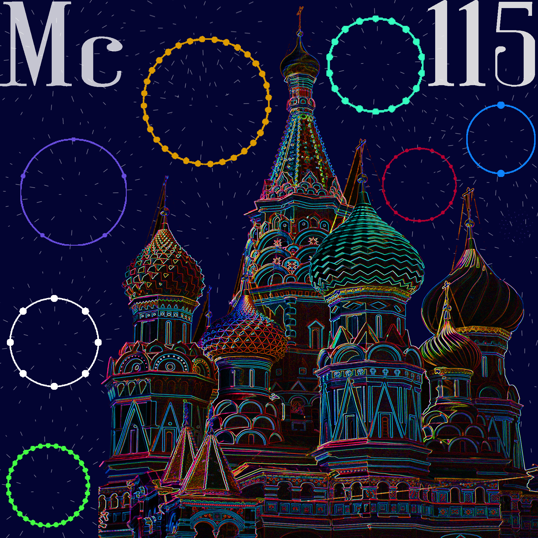 elemental tile for moscovium made by digitally highlighting the outline St. Basil's Cathedral in Moscow.