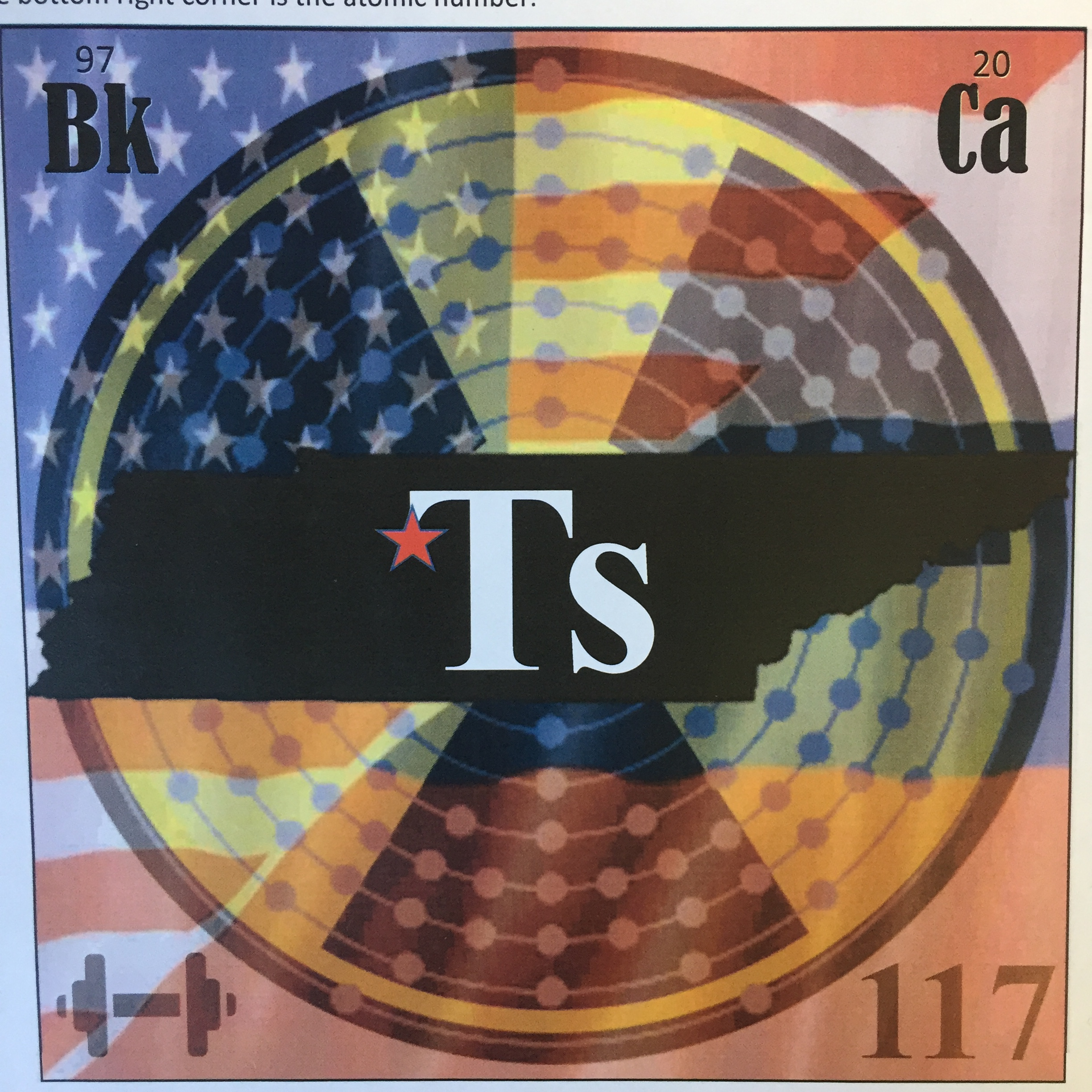 elemental tile of tennessine digitally created showing Tennessee state with American and Russian flags super-imposed.