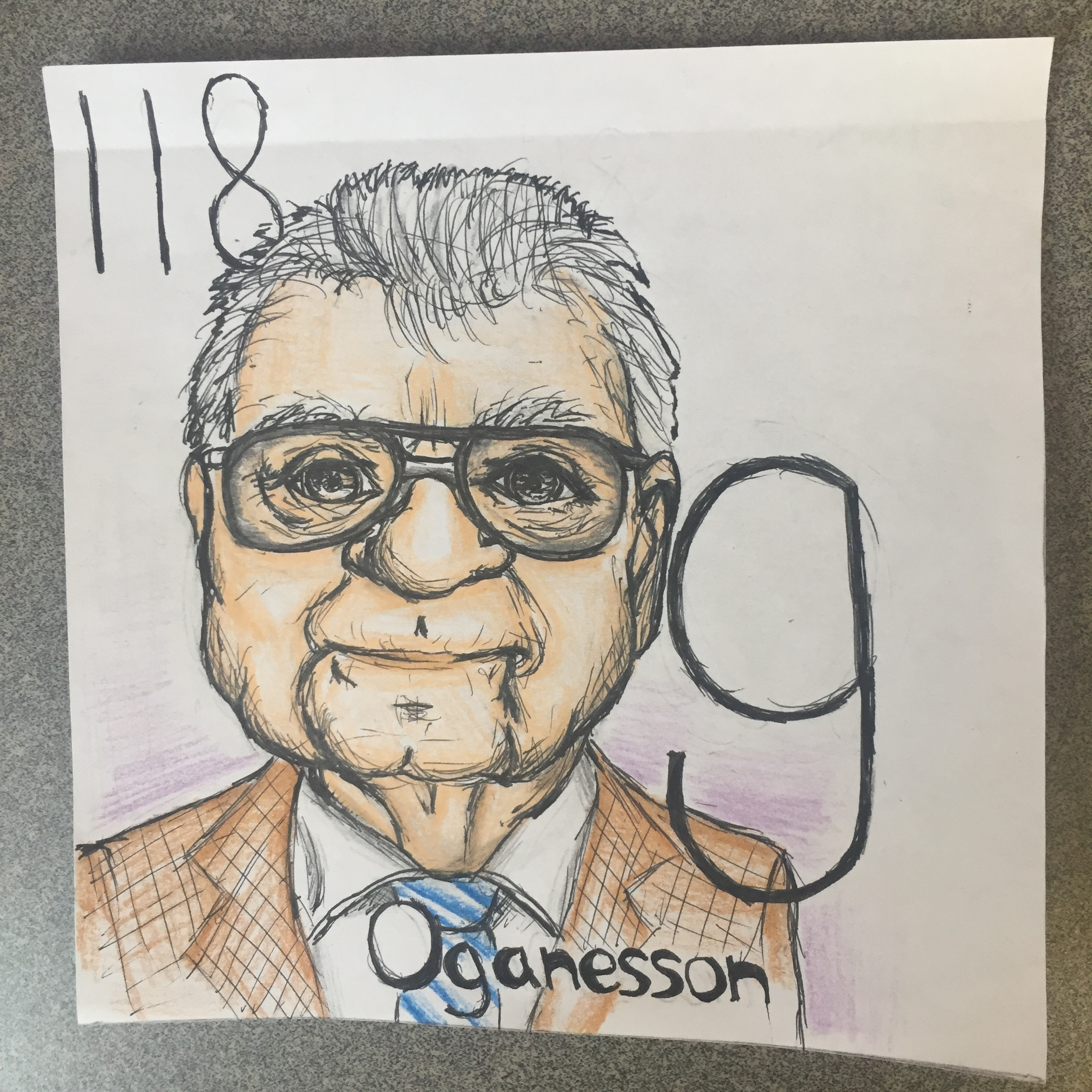 elemental tile of oganesson created with pencil crayon showing Dr. Oganessian.