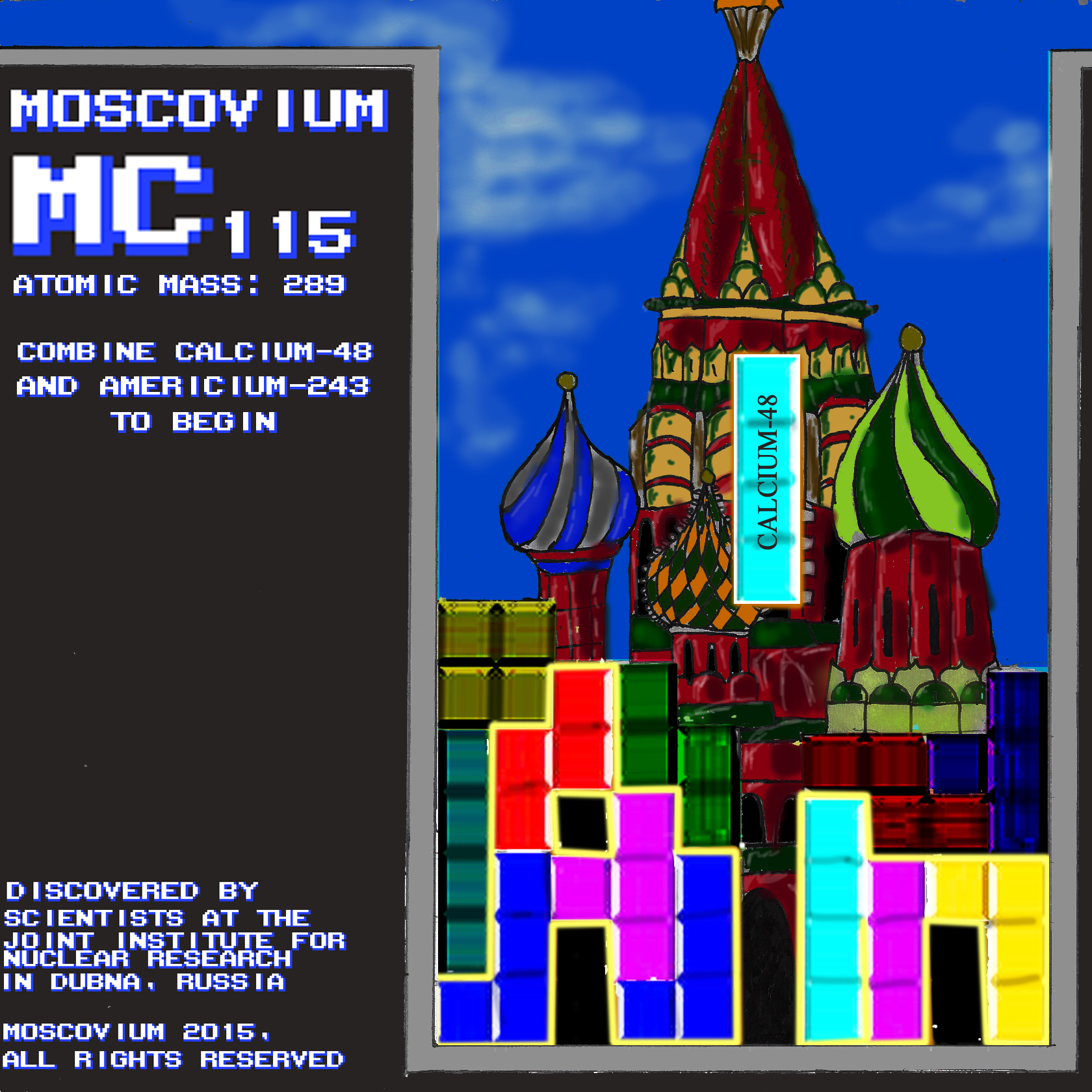 elemental tile of moscovium created digitally showing computer game Tetris in foreground and St. Basil's Cathedral in background.