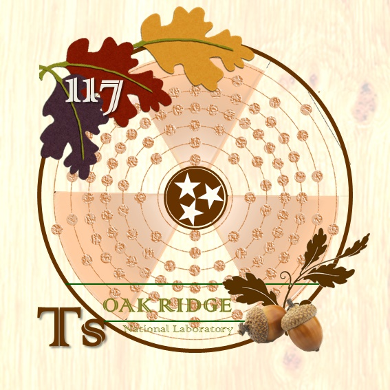elemental tile of tennessine created digitally with oak leaves, radioactive symbol superimposed over Ts Bohr-Rutherford diagram.