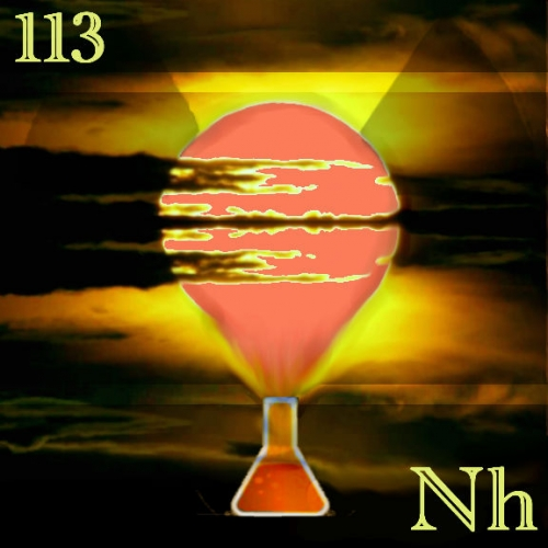 elemental tile of nihonium in digital art with a orange sunset coming of an Erlenmeyer flask.