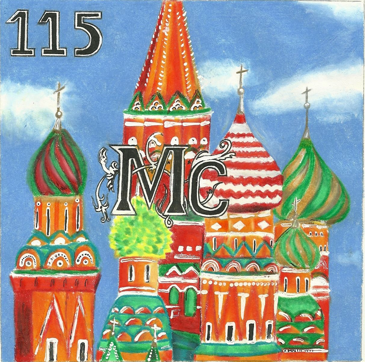 elemental tile of moscovium showing St. Basil's Cathedral created using pencil crayons, a black ink pen and white paint.