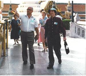 Gerry Toogood and friend in Thailand for the ICCE in December 1992