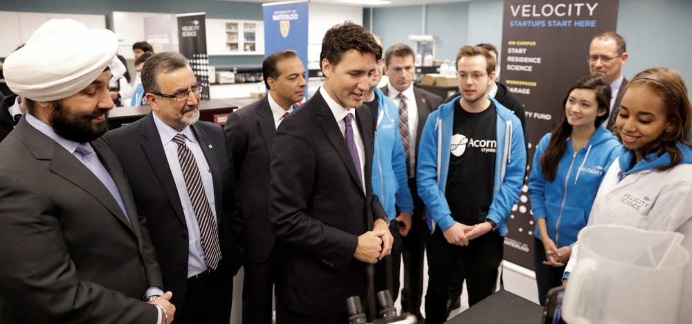 Minister Naveep Bains, Prime Minister Justin Trudeau and other officials in Velocity Science Lab with Acorn Cryotech.