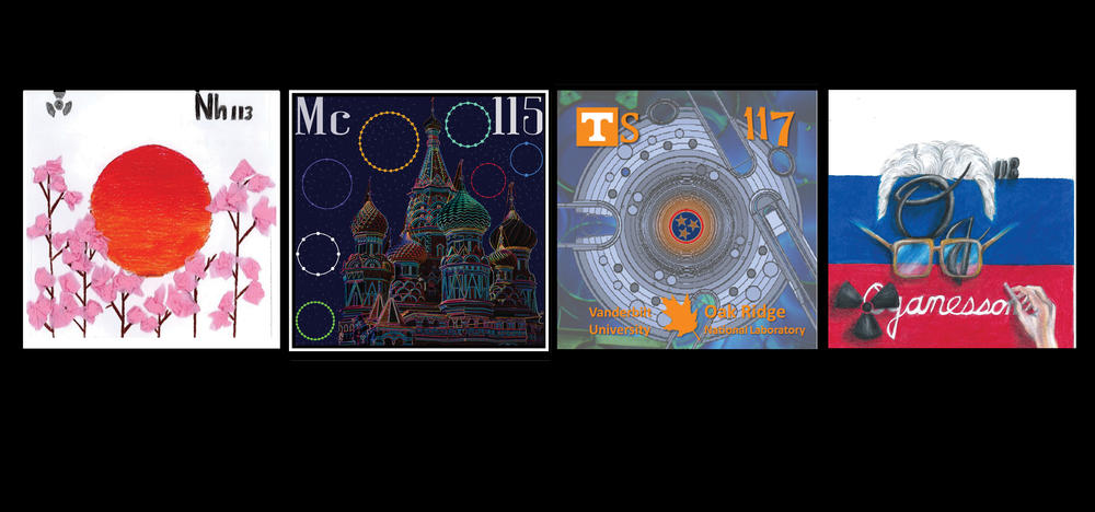 Winning tiles from the 2017 Periodic Table Contest for Nihonium, Muscovium, Tennessine, and Oranesson.