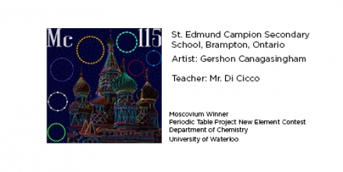 Winning Moscovium tile from St. Edmund Campion Secondary School, Brampton, Ontario. Elemental tile for moscovium made by digitally highlighting the outline St. Basil's Cathedral in Moscow.