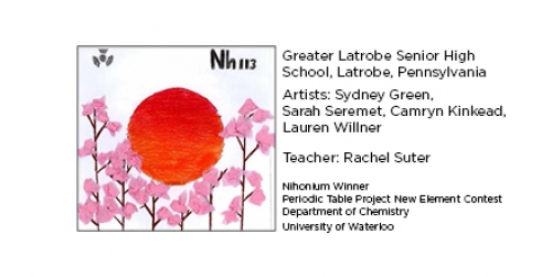 Winning Nihonium tile from Greater Latrobe Senior High School, Latrobe Pennsylvania. Elemental tile of nihonium drawing with a large red sunset and tissue-paper cherry blossoms.