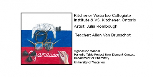 Winning Oganesson tile from Kitchener Waterloo Collegiate Institute & VS, Kitchener, Ontario. Elemental tile of oganesson showing a Russian flag with Dr. Oganessian eyeglasses, hair and hand and radioactive symbol.