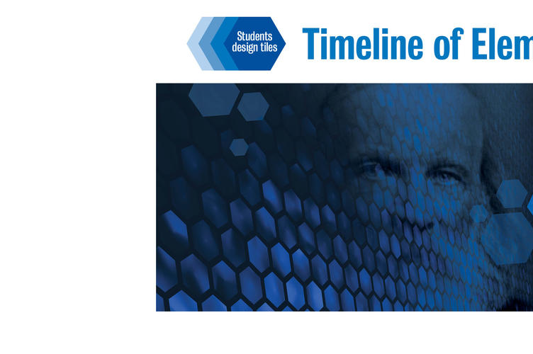 Mendeleev portrait surrounded by blue hexagons with a sign