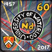 Neodymium 60 element tile with University of Waterloo logos and dates