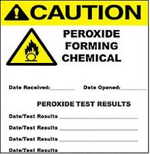 Caution peroxide forming chemical label with flammable symbol, date received, date opened, peroxide test results, date/test results