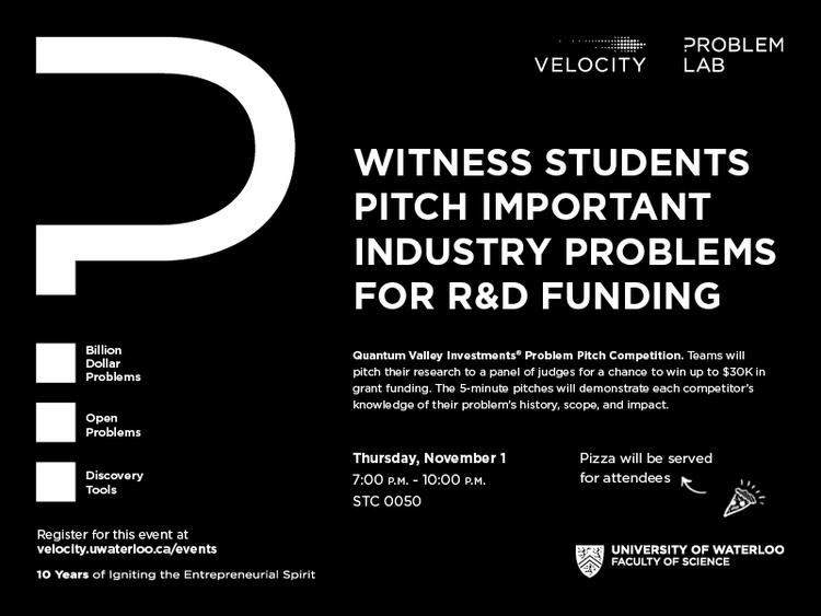 Problem Pitch Competition: Witness students pitch important industry problems for R&D funding November 1.