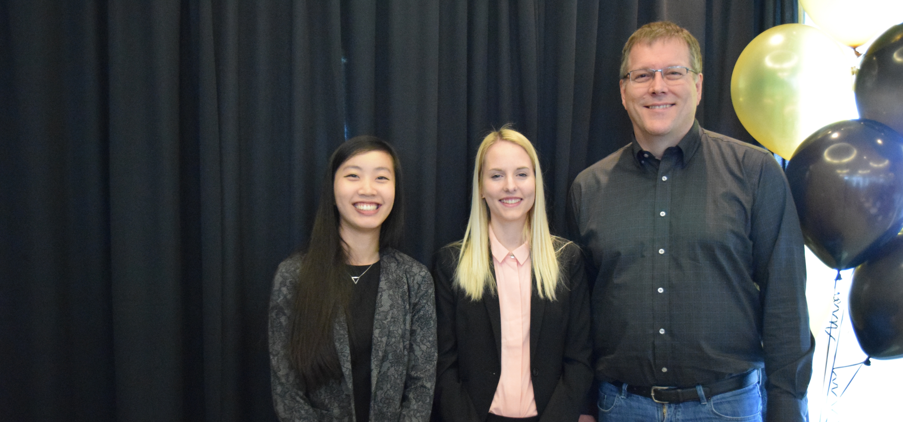 Stephanie Chan, Natalya O'Neill and Associate Dean of Computing and Co-op Education Stefan Idziak.