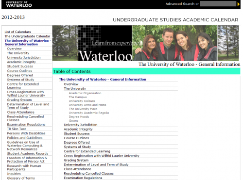 A screenshot of the Undergraduate Studies Academic Calendar website. Link to Undergraduate Studies Academic Calendar.