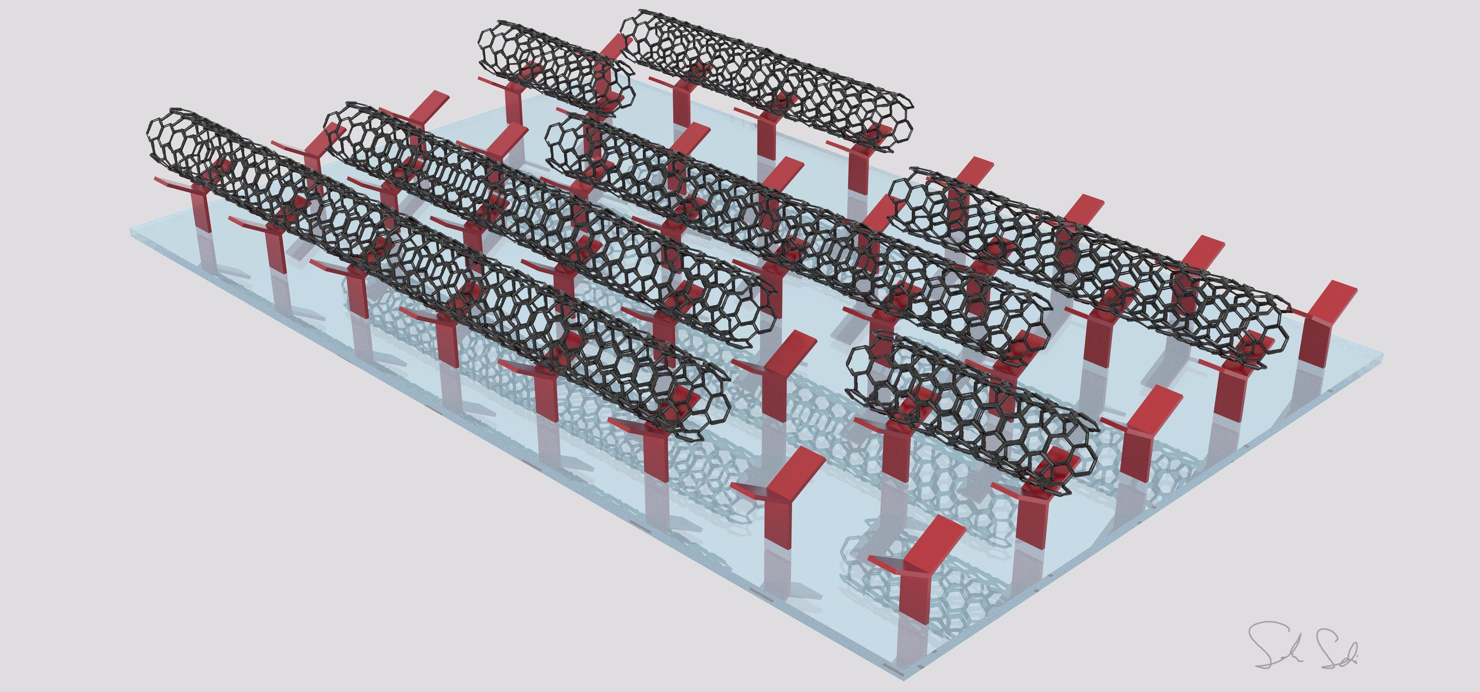 Illustration of carbon nanotubes depositing on a surface with the help of the alignment relay technique.