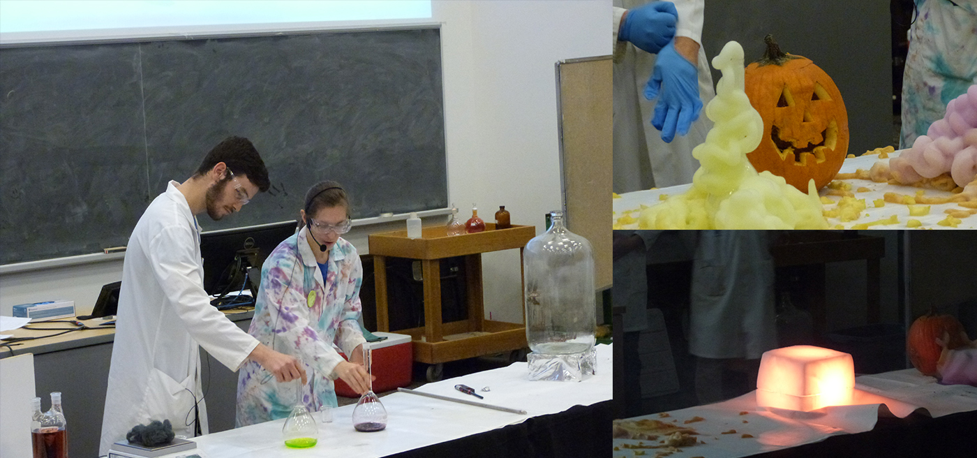 Chemistry show composite photo showing students on stage desmonstrating the vomiting pumpkin and glowing sun.