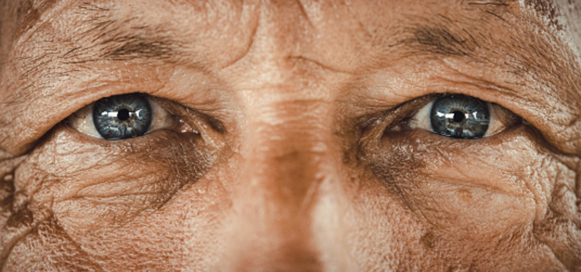 stock image of elderly man's eyes.