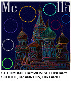 elemental tile for moscovium made by digitally highlighting the outline St. Basil's Cathedral in Moscow. St. Edmund Campion Secondary School, Brampton, Ontario.