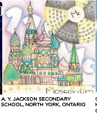 elemental tile of moscovium created with pencil crayons showing St. Basil's Cathedral and stylized Lewis Dot diagram of Mc. A. Y. Jackson Secondary School, North York, Ontario.