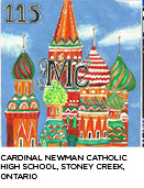 elemental tile of moscovium showing St. Basil's Cathedral created using pencil crayons, a black ink pen and white paint. A. Y. Jackson Secondary School, North York, Ontario.