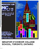 elemental tile of moscovium created digitally showing computer game Tetris in foreground and St. Basil's Cathedral in background. Senator O'connor College School, Toronto, Ontario.