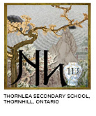 elemental tile of nihonium with Japanese scenery, architecture, zen garden and wabi-sabi. Thornlea Secondary School, Thornhill, Ontario.