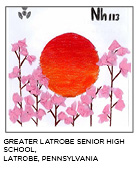 elemental tile of nihonium drawing with a large red sunset and tissue-paper cherry blossoms. Greater Latrobe Senior High School, Latrobe, Pennsylvania.