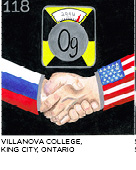 elemental tile of oganesson created with crayons with shaking hands, one sleeve has American flag, the other has Russian flag. Villanova College, King City, Ontario.