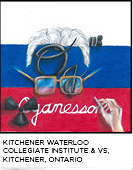 elemental tile of oganesson showing a Russian flag with Dr. Oganessian eyeglasses, hair and hand and radioactive symbol. Kitchener Waterloo Collegiate Institute & VS, Kitchener, Ontario.